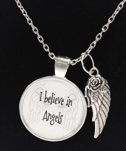 I Believe In Angels Angel Wing Quote Necklace