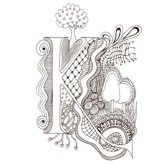 Monogram, Initial, Colour-Me-In Illuminated Letters - K, original art drawings by melanie j cook $5.00