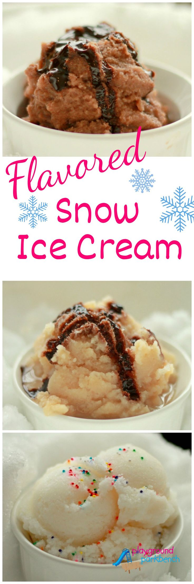 Celebrate your snow day with homemade snow ice cream - and you can make more than just vanilla.  Try chocolate, coffee, peppermint chip and strawberry too!  Simple 4-5 ingredients each plus snow, you'll have fresh ice cream in less than 5 minutes.  Perfect for kids to make too!