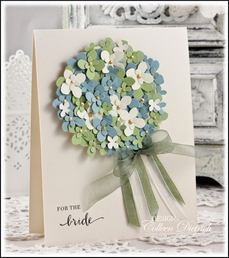 Punched hydrangea blossoms layered on CS circle, centers added with yellow Liquid Pearls