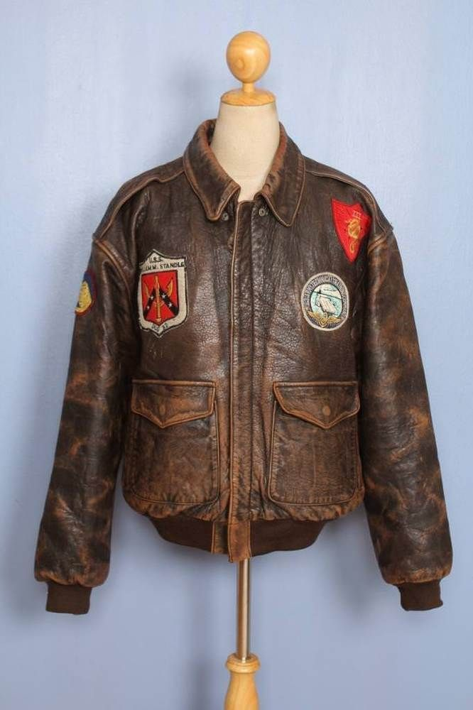 59ff0d35604 Vtg AVIREX A-2 Patched Flight Leather Jacket Size XL  Avirex  Military