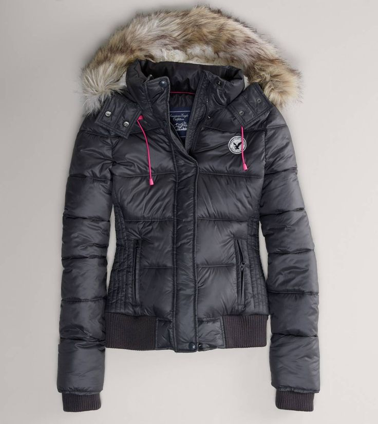 American Eagle Faux Fur Hooded Puffer Jacket