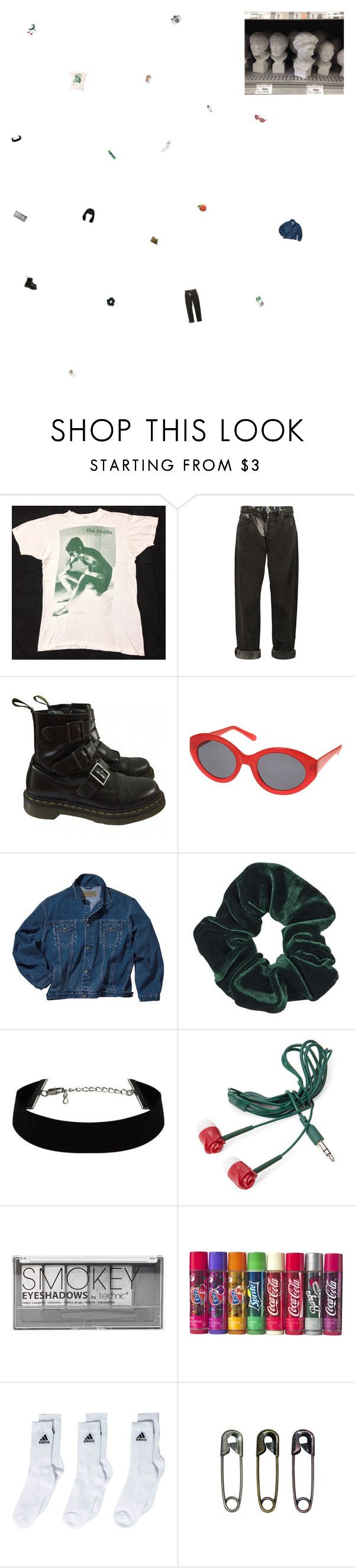 """why do i smile at people who i'd much rather kick in the eye?"" by the-soft-parade ❤ liked on Polyvore featuring McQ by Alexander McQueen, Dr. Martens, Topshop, Forever 21, Boohoo, adidas, Concord, Tim Holtz, Holga and vintage"