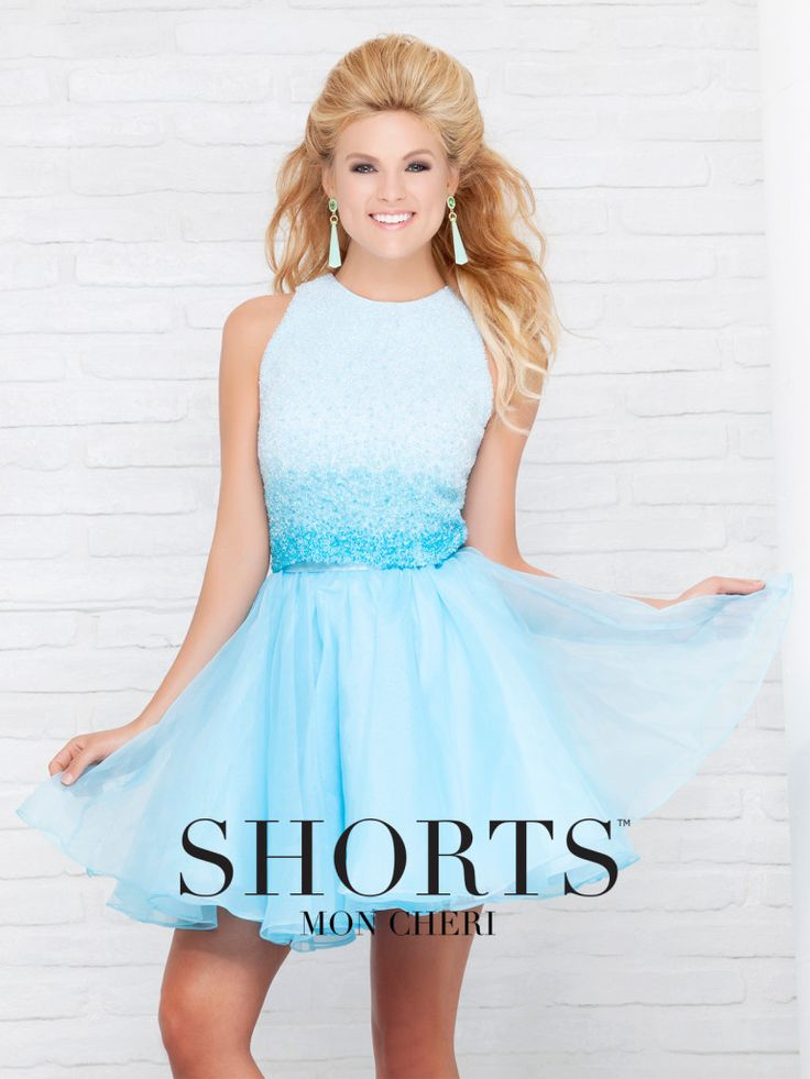 Shorts - TS11576B - Two-piece organza dress set, sleeveless cropped top encrusted in ombre hand-beading, high waist above-the-knee full gathered skirt.Sizes: 0 – 16Colors: Light Blue, Light Pink