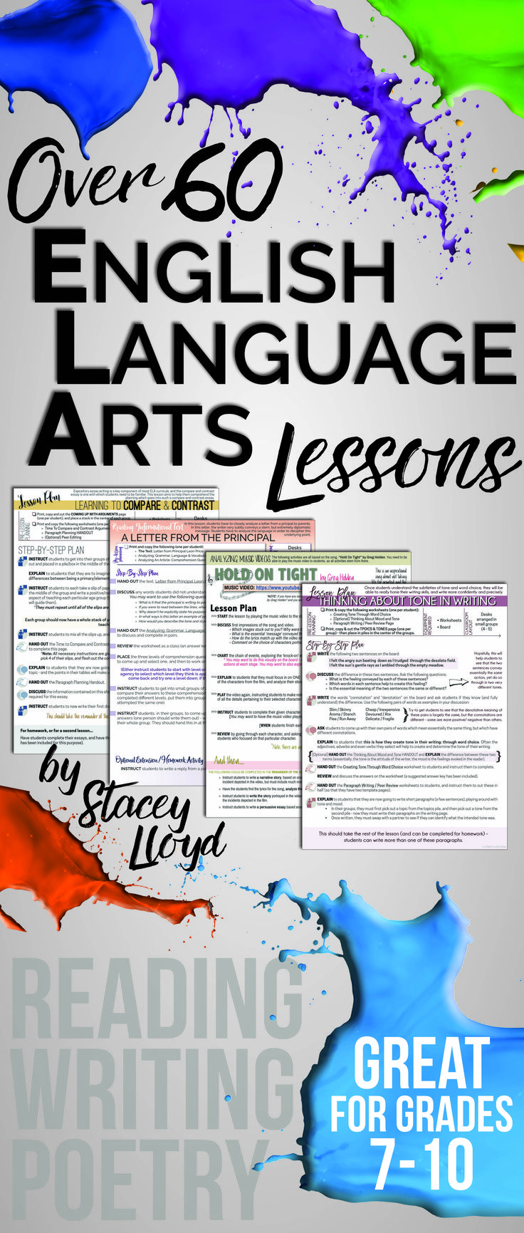 Over SIXTY ELA lessons bundled together. A must-have for any secondary English teacher: great for sub plans!