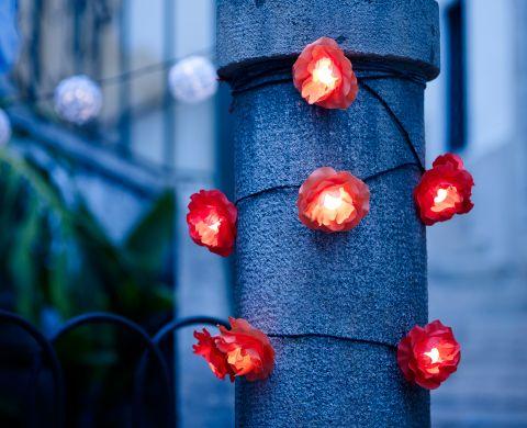 """IKEA - SOLVINDEN, Decoration for light chain, flower, 12-pack, $4.99 -- """"Designed for SKRUV, SÄRDAL and SOLARVET LED light chains. Approved for outdoor use."""""""