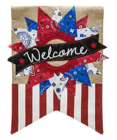 'Welcome' Patriotic Wreath Outdoor Flag