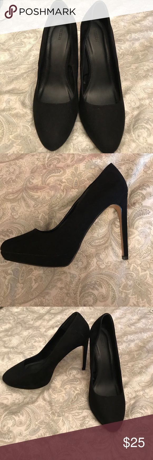 Brand new Forever 21 faux suede platform pump Brand new. Never worn(only tried on) Forever 21 faux suede platform pump. Rounded toe and slim towering stiletto heel are the ultimate compliment. Shoes Platforms