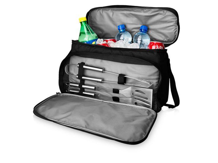 """Набор для барбекю """"Dox"""" Набор для барбекю Dox из 3-х предметов. Это необходимая вещь для любого пикника. В наборе 3 инструмента для барбекю, лопатка, щипцы и вилка, которые упакованы в переднее отделение сумки. Отделение — холодильник предназначено для напитков или"""