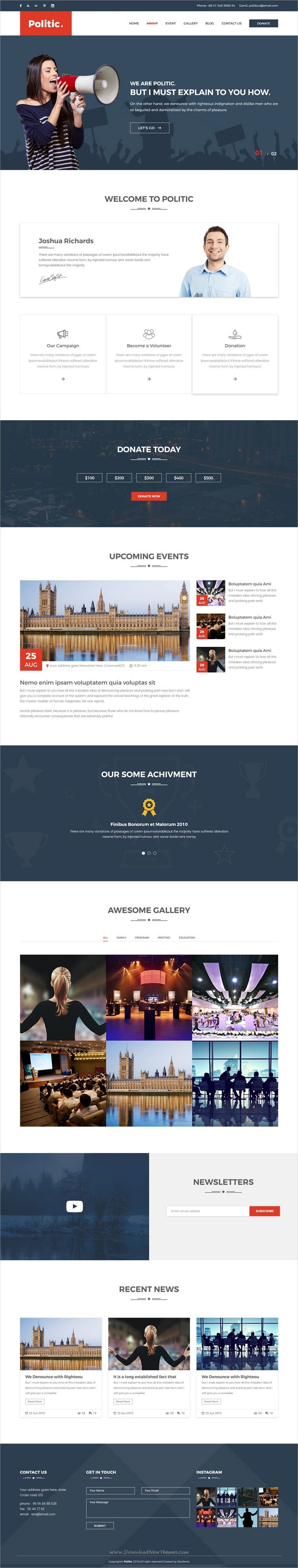 Politic is an awesome design responsive #HTML #bootstrap template for #political campaign, Super PAC, #Candidate, organization or political parties website download now➩ https://themeforest.net/item/politic-political-html-template-with-sass/19328229?ref=Datasata