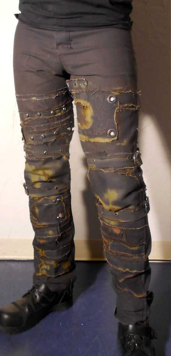 some type of old looking jeans. Preferably dark green or dark brown.