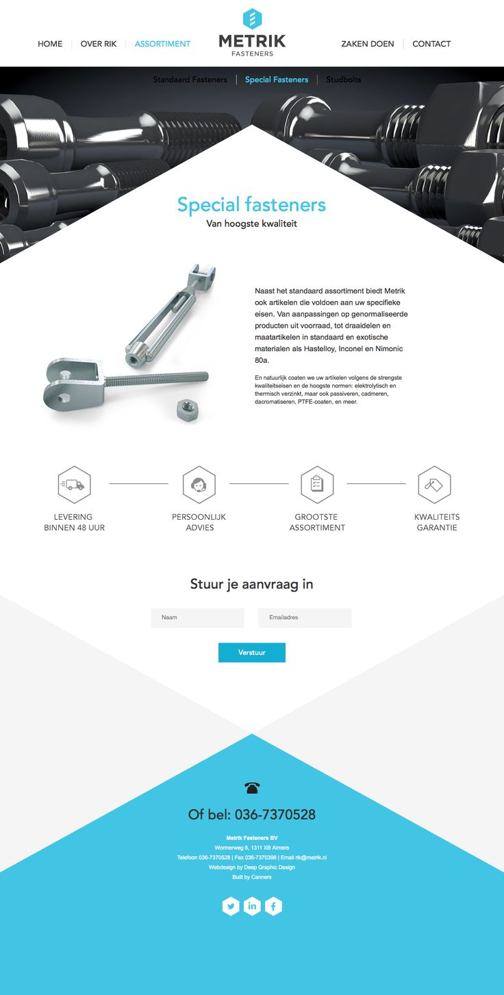 Webdesign subpage for Metrik Fasteners in The Netherlands.