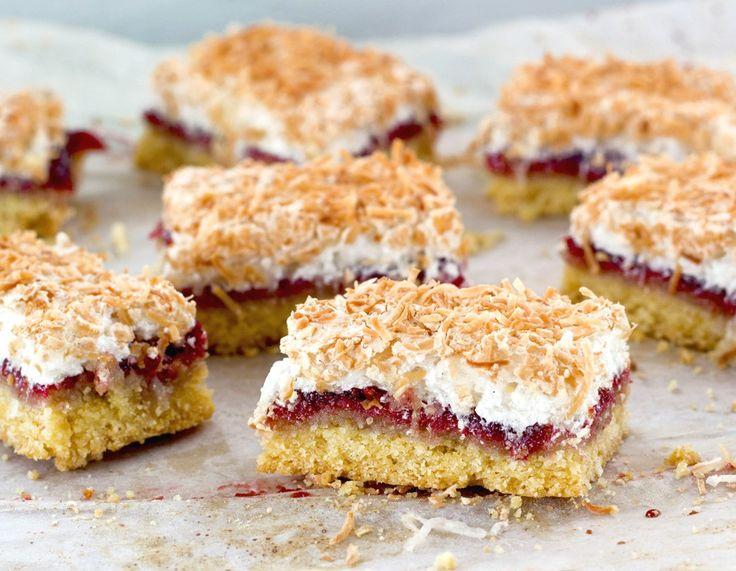 Louise Cake, with its shortcake crust slathered with raspberry jam and crowned with a delicately crisp coconut meringue, has been part of the New Zealand landscape for a very long time.