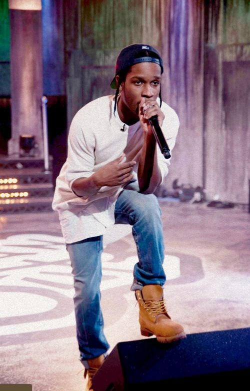 ASAP rocky in Timberland boots.