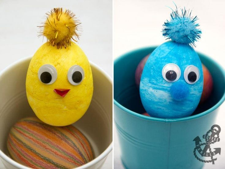 Polystyrene Easter Eggs with Googly Eyes