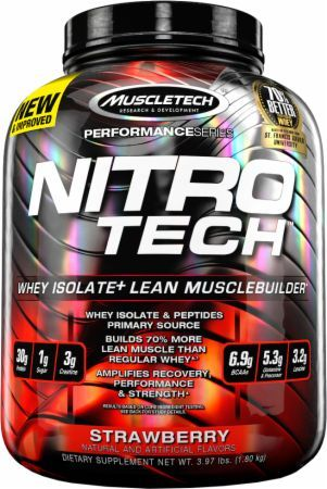 MuscleTech NITRO-TECH Strawberry 4 Lbs. MT1130270 Strawberry - Ultra Pure Whey Isolate Enhanced With Creatine & Aminos!