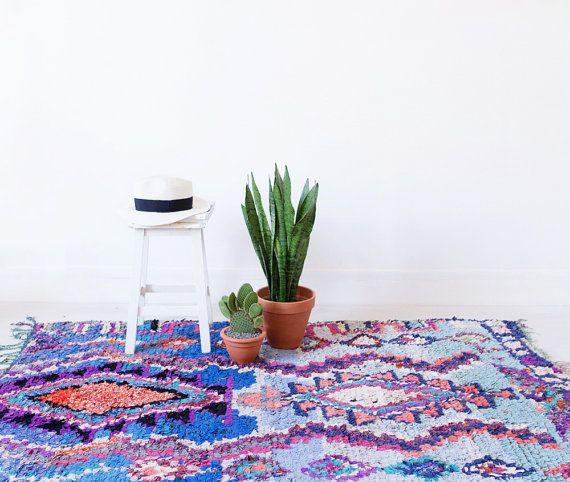 "Vintage Moroccan Boucherouite Rug, ""The Jackson,"" Berber Rug, Blue Rug, Pastel Rug, Colorful Rug, Bohemian Rug, Boho Rug,…"