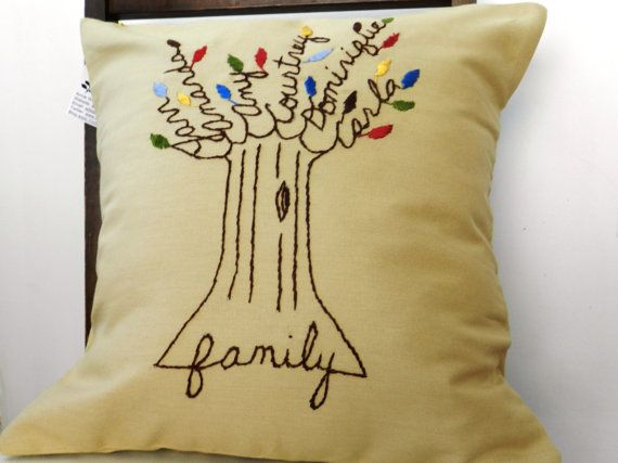 Family Tree Pillow Cover  Personalized Beige by BlueLeafBoutique, #pinparty