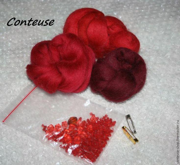 Валяем цветок из шерсти (брошь-заколка) - Ярмарка Мастеров - ручная работа, handmade