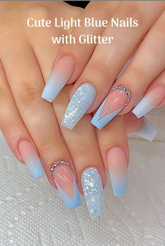 Cute Light Blue Nails With Glitter In 2020 Blue Glitter Nails Baby Blue Nails Light Blue Nails