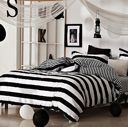 BENBU High-end fashion bedding Zebra black and white striped cotton boys and girls bedroom set four piece twin/Queen/King size bed four set //Price: $102.04 & FREE Shipping //     #bedding