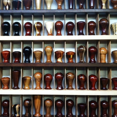 *jaw drops* So many to choose from! Tamper heaven! (aka Dana Paul's custom tamper workshop)