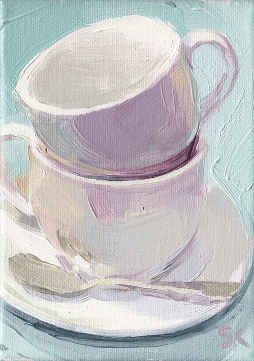 coffee cup kitchen art oil painting  5 x 7  by MadAboutHue on Etsy, $60.00