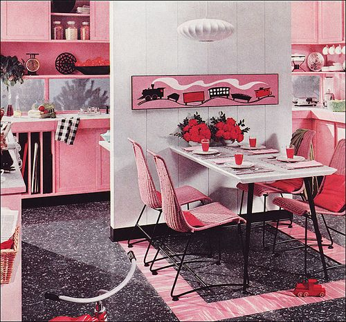PINK  MID CENTURY MODERN KITCHENKitchens Design, Interiors Design, Kitchens Dining, Mid Century, American Vintage, Pink Kitchens, Vintage Interiors, Modern Kitchens, Retro Kitchens