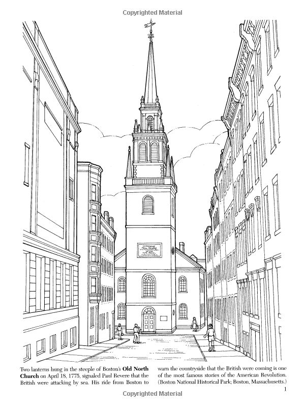 Historic American Landmarks Dover History Coloring Book