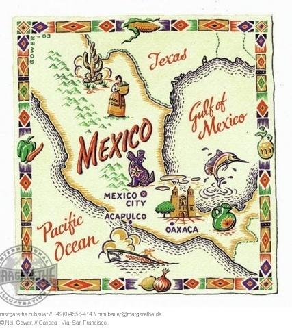 2004 // Oaxaca map, Mexico - Neil Gower