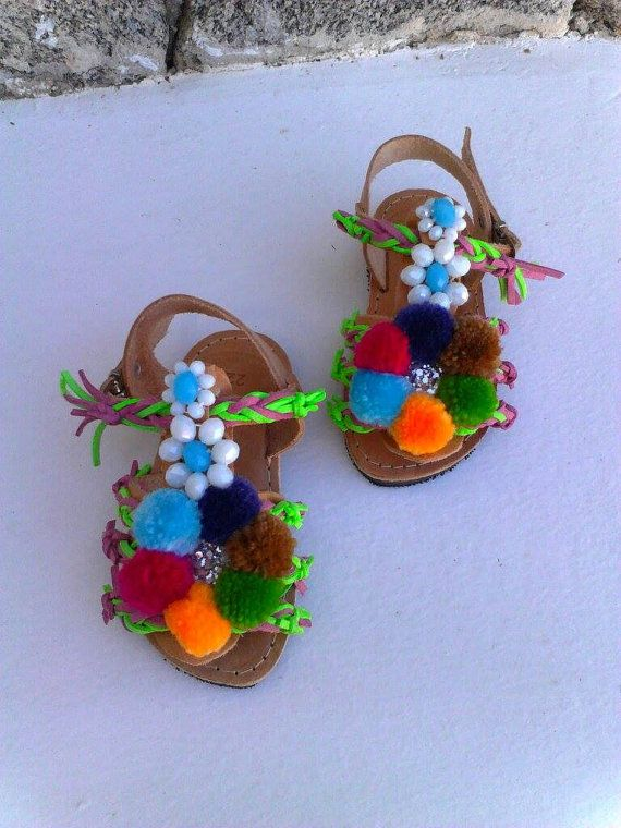 Greek sandals for little girlboho by boutiqueofsandals on Etsy