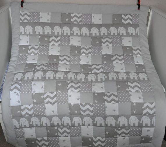 Grey Cot Bedding Grey Elephant Nursery Bedding by AnneAtMemories