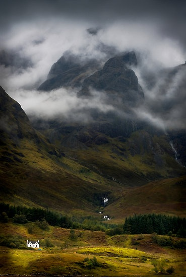 Isle of Skye, Scotland ~~ Now I know why I was so terrified on those wet roads (slick due to rain) with the shale drop-offs beside the road, trying to pass a bus and sheep, etc. We were travelling on cliffs on high tors, and I got so ill we had to turn and go back...