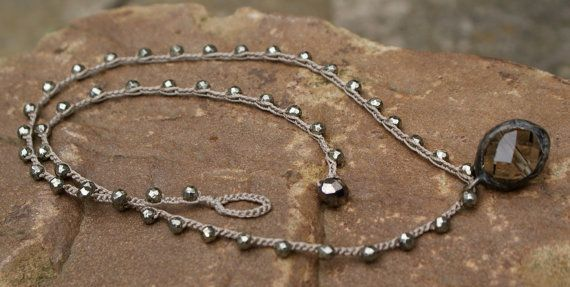 Crystal crochet necklace boho layering semi by Mollymoojewels