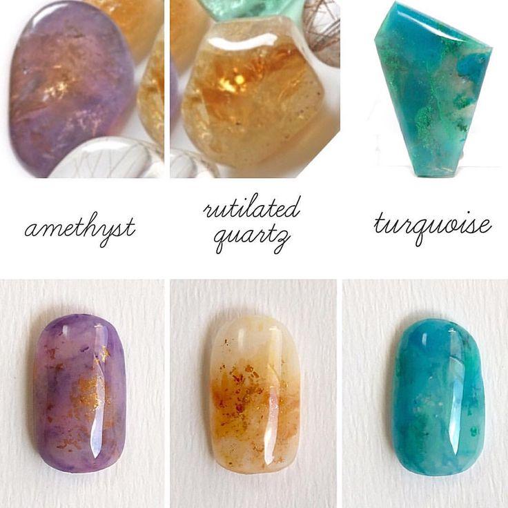 石の練習② #アメジスト / #ルチルクオーツ / #ターコイズ #amethyst #citrine #turquoise #naturalstone #naturalstonenail #nail #nails #nailart #nailstagram #instanails #gelnails #handpainted #ネイル #ネイルアート #ジェルネイル #手描き #手描きアート #天然石 #パワーストーン #天然石ネイル