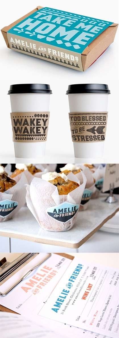 Branding for the restaurant Amelie & Friends (UK) by I Love Dust. I am digging on those coffee cup sleeves.