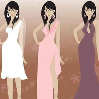 Vectores: Mujeres en vestidos Formales