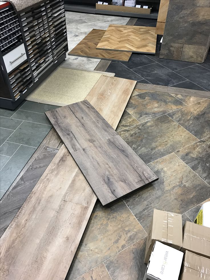 Busy start to the day! Moduleo and Karndean design floor samples.