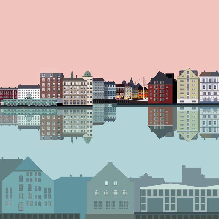 Copenhagen waterfront - Nyhavn - illustration #Sivellink