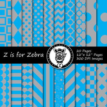 """This is 20 different patterns/colors. Each file is 12""""x 12"""" 300 dpi JPG file, so the images will be high quality and crisp!This item is a paid digital download from the Teachers Pay Teachers store ZisforZebra.This product is licensed for use a non-transferable user license, for personal, small scale commercial, and educational use.Commercial use ok."""