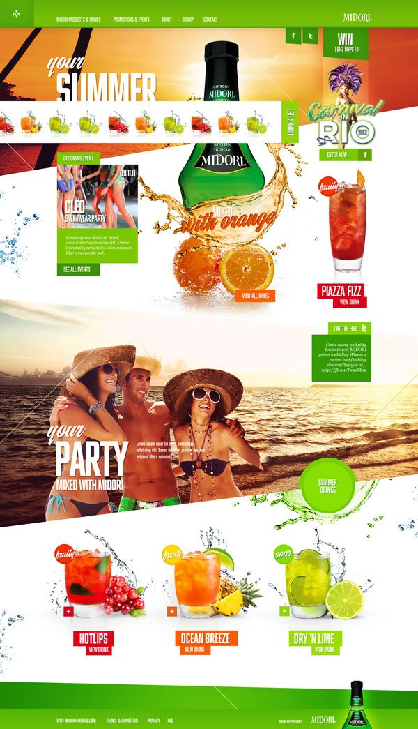The website overall feel is so fresh and juicy. The vivid color make the whole website stands up a lot. Not only rectangular and square, there are lots of shapes used in the website so the website doesn't look so boring. The shape of the background image is in irregular shape and the photos make the website look awesome and fascinating. Color is used to differentiate taste of liqueur.The hierarchy is great! The topographies are interesting and nice to look at.