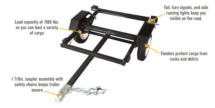 FREE SHIPPING — Ironton Utility Trailer Kit with 40in. x 48in. Bed — 1,060-Lb. Capacity