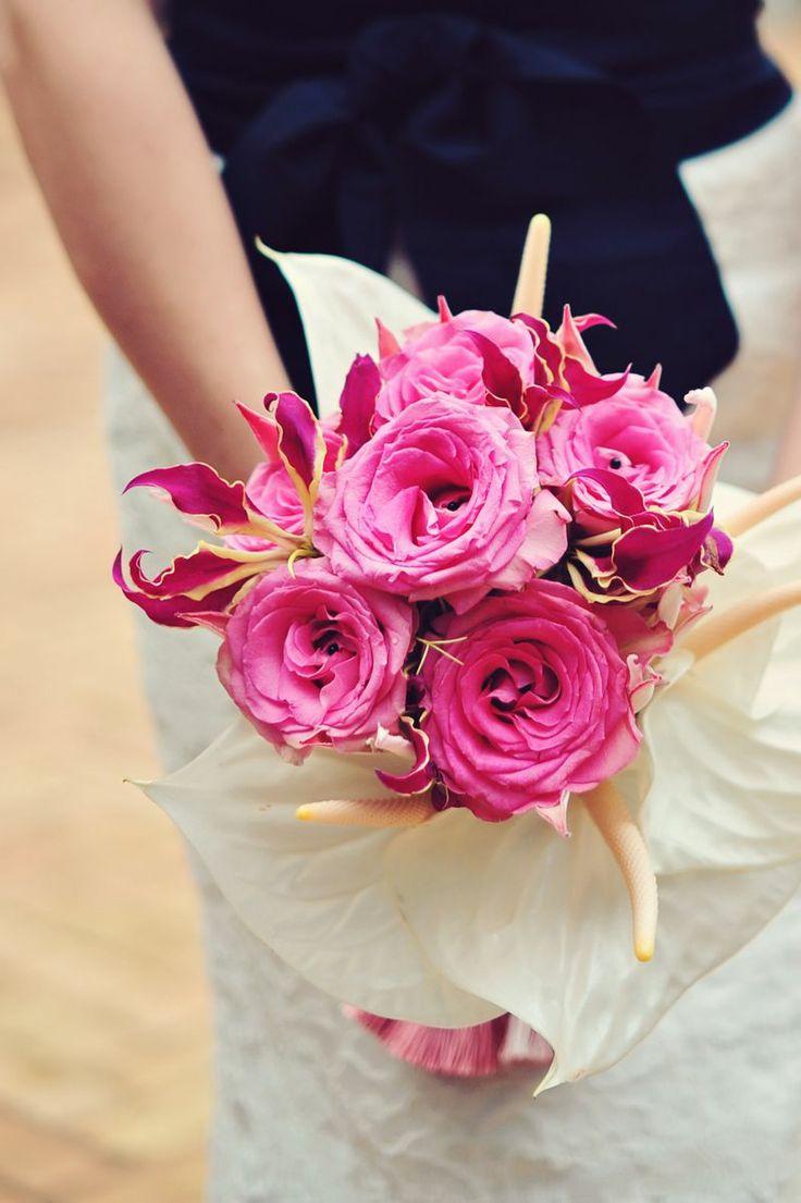 Garden rose and anthurium.