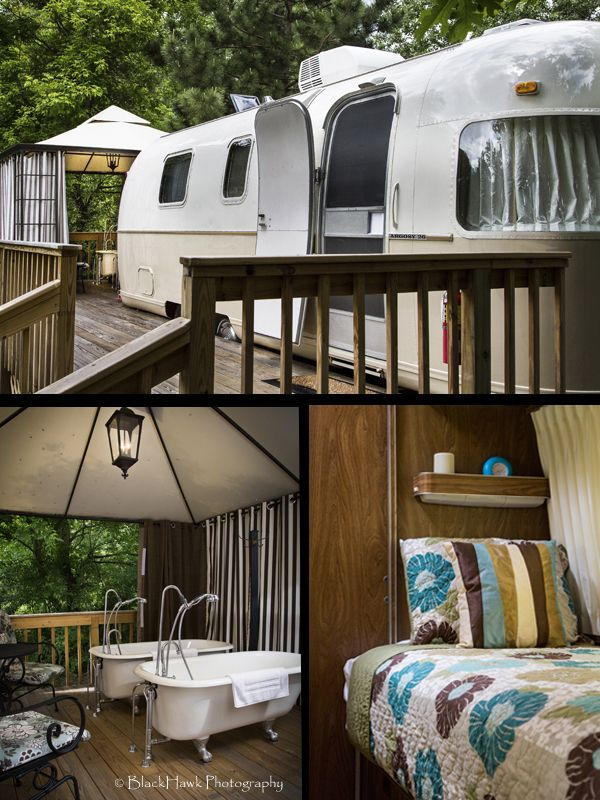 This beautifully refurbished 26-foot 1973 Argosy travel trailer built by Airstream has a large attached deck with an enclosed area that is home to 2 vintage claw foot deep soaking tubs, a table with 2 rockers and a grill. Enjoy your own private outdoor spa room and meet your mate for the first time all over again! For more photos go to www.bowmansoakhillbedandbreakfast.com