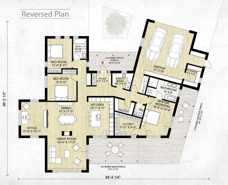 Modern style house plan 3 beds 2 5 baths 2116 sq ft plan 924