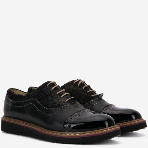 Pantofi Oxford din piele naturala negri Alida