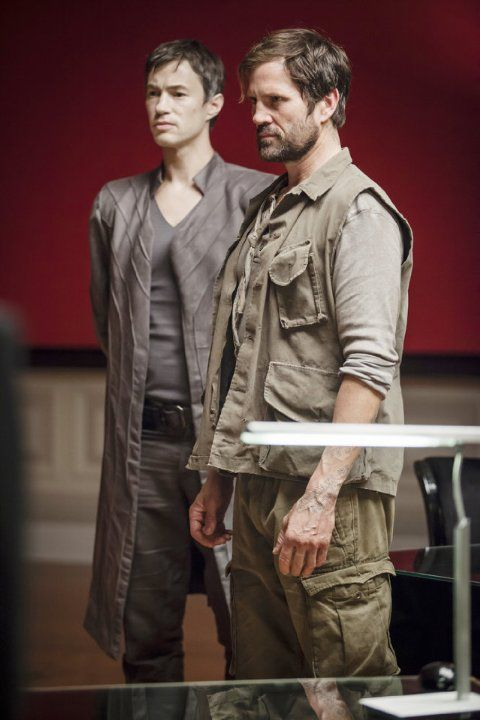 Still of Langley Kirkwood and Tom Wisdom in Dominion (2014)