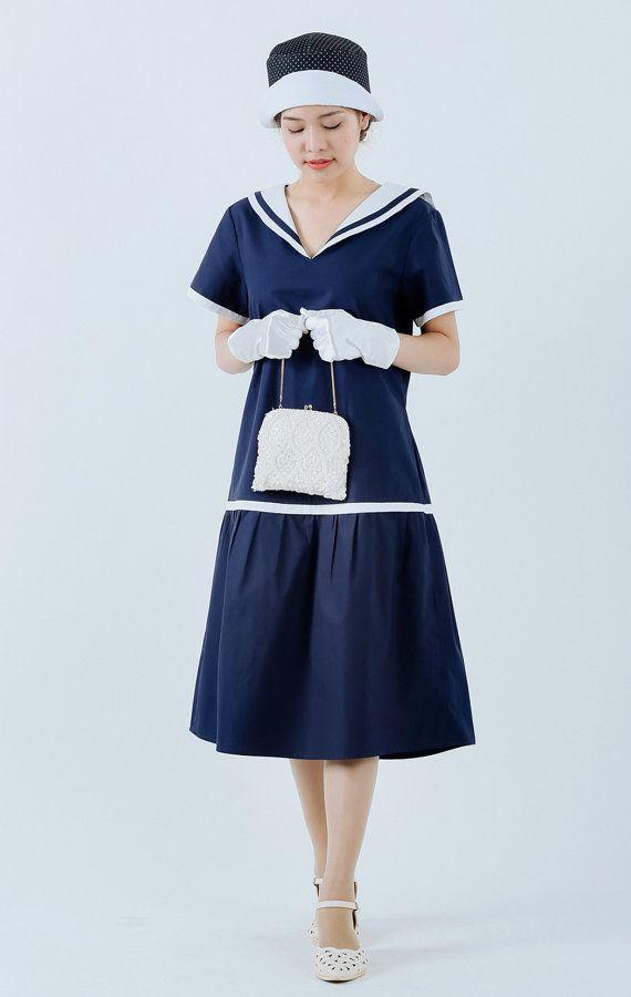 1920s sailor dress in navy and white blue 20s day dress nautical flapper dress 1920s women clothing blue Gatsby dress Navy blue dress $130.00 AT Vintagedancer.com