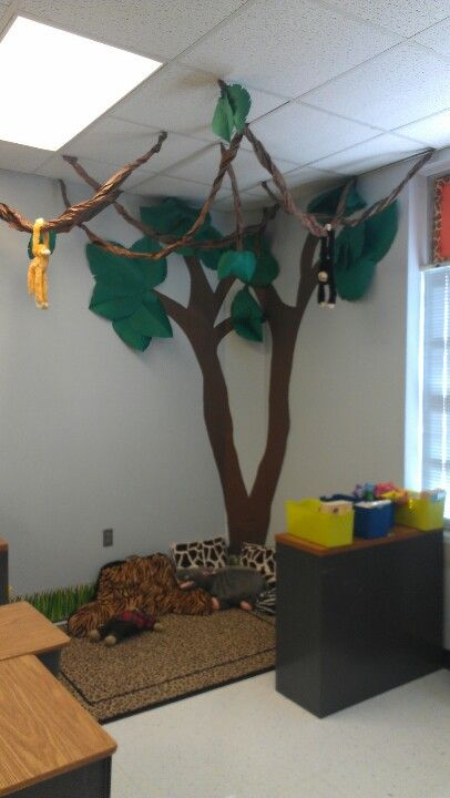 "Jungle Theme reading corner. ""We're wild about reading"""