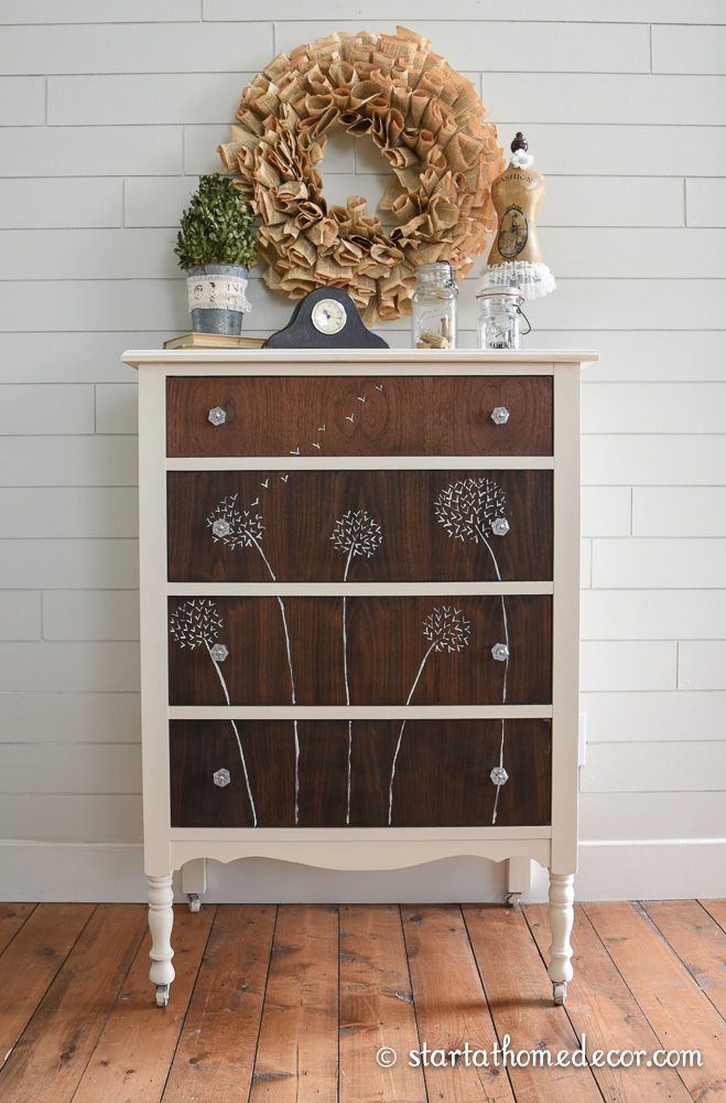 Dandelion Hand Painted Dresser Do you remember my first dandelion hand painted…
